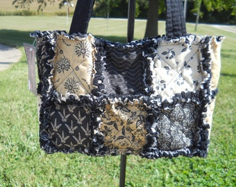 Rag Quilt Purse tote bag primitive black and tan wheat floral magnetic snap pockets