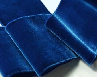 Vintage French Velvet Ribbon Trim 72mm Wide Royal Blue Velvet Ribbon by the yard, Vintage Velvet Dress Ribbon Wholesale #166 Made in France