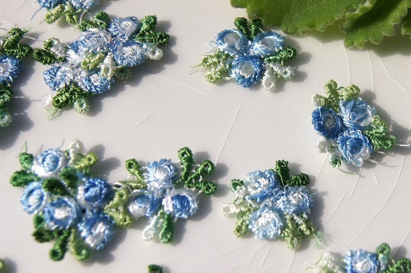 Vintage flower applique blue white embroidery