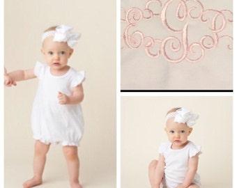 Monogrammed Baby Girl Bubble