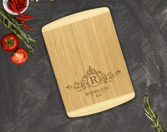 Large Personalized Two-Tone Bamboo Cutting Board, Custom Engraved Kitchen Gift