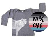 Organic Baby Boy Clothes - Baby Boy Shirt, Baby Shirt, Boys tshirts, Baby Boy Tshirt, Baby Boy T Shirts - Denim Stripes with a Wolf Print