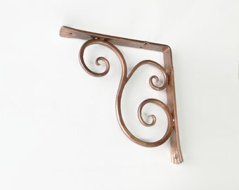 Shelf bracket classical (Copper Paint) with scroll wrought iron hand forged (cl-2-cu)