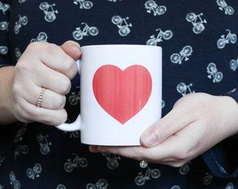Mug coeur prénom personnalisable / rouge amour / céramique