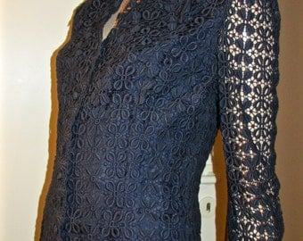 Navy guipure lace top.
