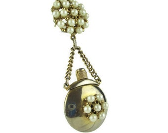 Vintage Gold Tone Faux Pearl Perfume Bottle Brooch pin
