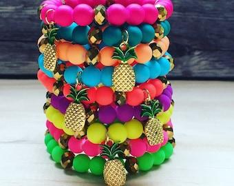 SALE Neon Pineapple Bracelets/ Summer Jewelry/ Stackable Bracelets/ Pineapple Charm Bracelet