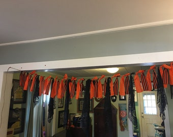 Black and Orange Halloween Banner with Lace
