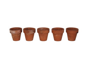 Antique Small Clay Flower Plant Pot Set of 5