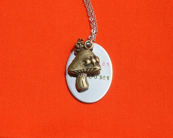 Alice in Wonderland Hand Stamped Stainless Steel Necklace