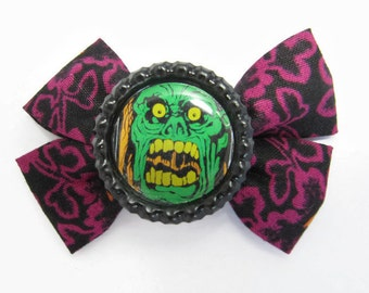 white zombie hair bow - rockabilly psychobilly horror halloween hair accessory clip