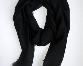 accessories  scarves and wraps soft wool fabric black scarf