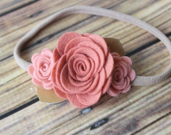 Felt flower garland headband - nylon headband - One size fits most