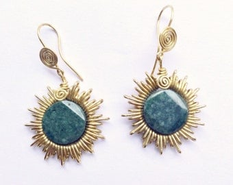 Earrings jade Sun