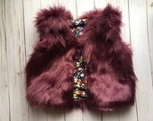 SALE! Made to order- Purple front tie faux fur vest baby-toddler: Newborn- 5T