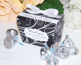 Black Favor Boxes, Personalized Favor Box,  Chocolate Favor Box