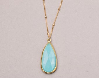 Long Turquoise Necklace / Long Gold Necklace with Luxurious Turquoise Howlite Stone Pendant by Layered and Long / Gold Rim Turquoise LN706