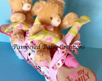Twin Diaper Cake - Diaper Tandem Bike- Diaper Cake for Twins - Pampered Baby Creations