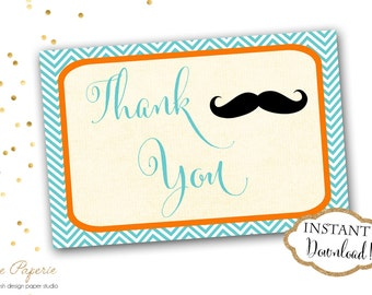INSTANT DOWNLOAD - Mustache Little Man Thank You Cards - Printable Mustache Thank you Note - Orange Aqua Chevron Thank You card - 0170