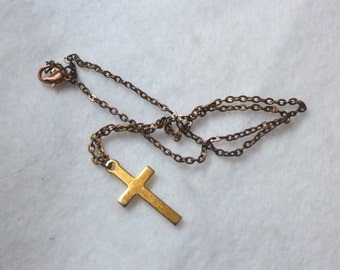 Vintage Cross Charm Necklace 16 inch Chain