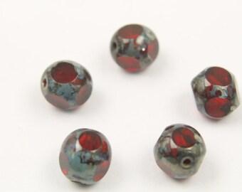 Design beads, CZP07-04, 20 pcs, 8mm, 1mm hole, Siam, Czech glass beads, Pressed beads, 90080/86800