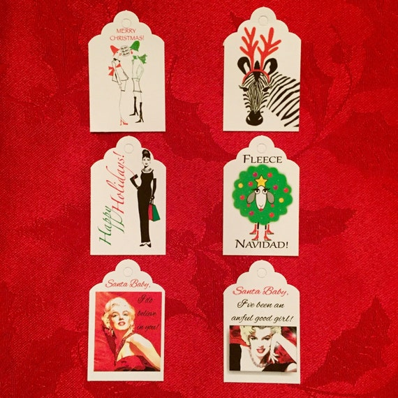 Christmas gift tags. 10 tags of same design per bag. 6 different designs to choose from!