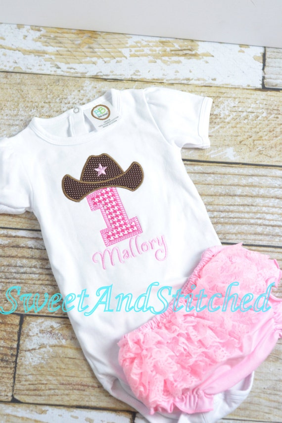 Cowboy Cowgirl Rodeo First (1st) Birthday outfit pink with ruffle bloomers - cowboy rodeo birthday cake smash, cowgirl first birthday