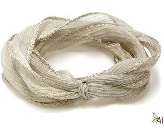 100% Silk Crinkle Ribbon- Hand Dyed - BEIGE