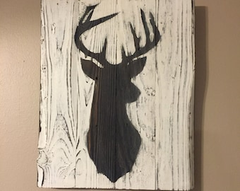 "Buck Silhouette - Animal Silhouette on wood- Deer - Pallet Wood Sign - Squirrel - Fish - Duck - Doe - 17""x21"""