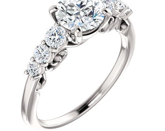Forever One Moissanite 7 stones Engagement Ring ,Wedding Ring In Platinum   ST119221 (Other stone options available) Certified Appraisal