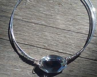 Wire wrapped swarovski crystal bracelet