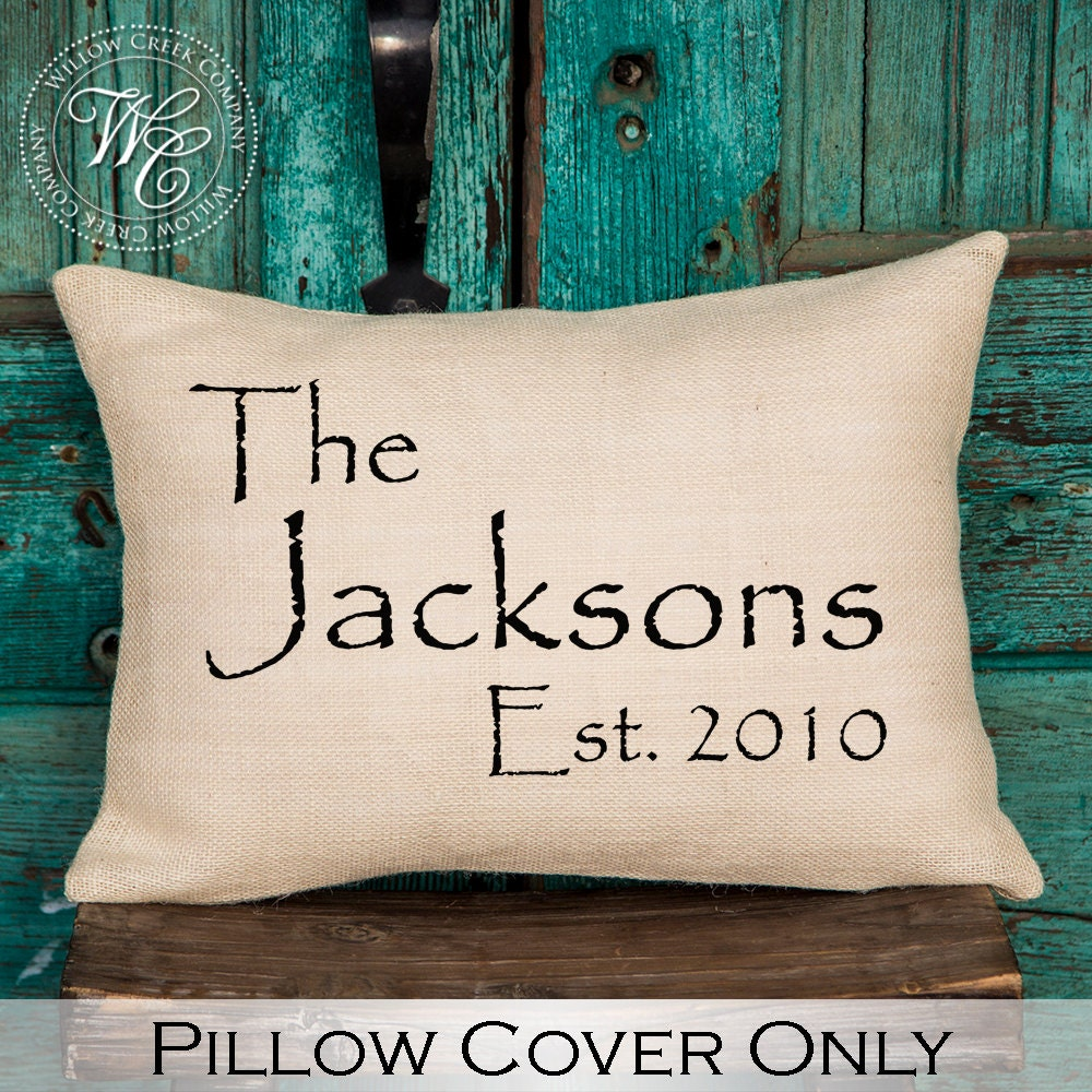 Personalized Pillows For Wedding Gift: Personalized Wedding Gift Burlap Pillow Cover Pillow With