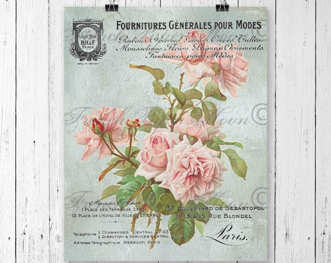 Printable Victorian Rose Digital Image, French Receipt Graphic, Digital Download, French Digital Rose Pillow Transfer
