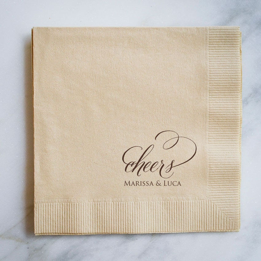 Personalized Cheers Wedding Napkins Custom Wedding Cake Table