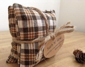 Brown plaid homespun fabric balsam fir sachets/pillows