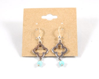 Silver Quadrefoil with Agate Teal Aqua Dangle Earrings on Nickle Free Silvertone Earwires