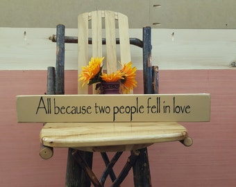 All because two people... Love Sign, Anniversary Gift, Wedding Sign, Rustic Decor, Primitive Sign