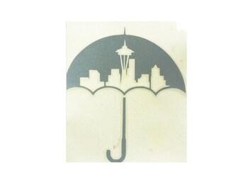 Washington Umbrella Decal, Seattle Skyline Car Decal, Seattle Rain Window Cling