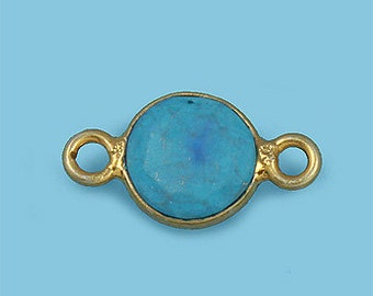 1 ea. Tiny 6mm Turquoise and Vermeil Bezel Connecor Link Birthstone