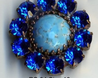 Czech glass rhinestone button - turquoise glass and blue rhinestones - size 13, 29 mm RS 64