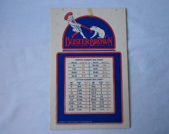 Vintage Buster Brown Hosiery Size Chart