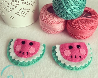 Watermelon hair clip - set of 2