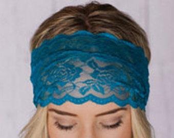 Wide Lace headbands, Lace Head wrap