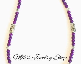 Long Purple Necklace, Dark Purple Necklace, Purple Beaded Necklace, Purple Bead Necklace
