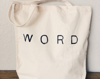 Word Tote Bag - Canvas Tote - Shopping Bag - Reusable Bag - Hand Painted Tote Bag