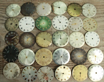 "watch faces / 1.1 - 1.2 "" /  set of 30  vintage watch faces ...  watch dial, circle ... old vintage watch parts ... steampunk supplies"