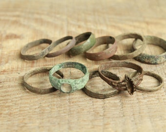 set of 10 Antique rings ... antique jewelry ... found objects ... vintage ring ... excavations finds ... diggind finds