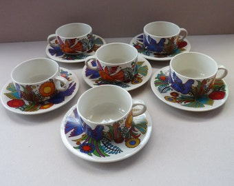 Set of SIX Acapulco VILLEROY & BOCH Coffee Cups and Saucers