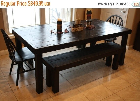 Huge sale beautiful primitive black 7 ft solid by for 7 foot dining room table