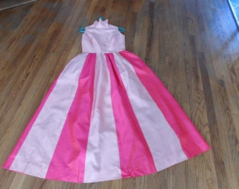 Vintage Silk Maxi Dress, Light and Dark Pink Striped, Vacation Dress, Made in Dao-Roong, Bangkok, Mod Dress, High Fashion Silk Dress
